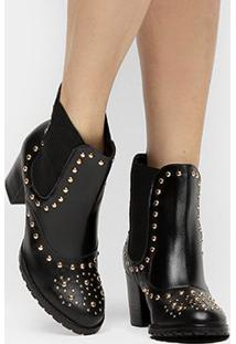 Bota Couro Shoestock Curta Chelsea Feminina