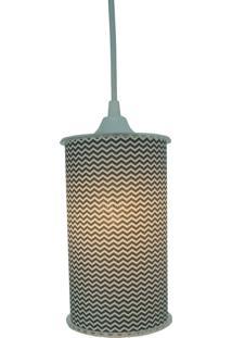 Luminária Pendente Cilíndrica Crie Casa Chevron Preto