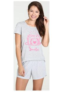 Pijama Feminino Short Doll Listrado Manga Curta Marisa