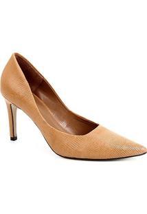 Scarpin Couro Shoestock Salto Alto Serpente - Feminino-Caramelo