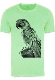 Camiseta Masculina Joss Estonada Arara Da Praia Verde Claro