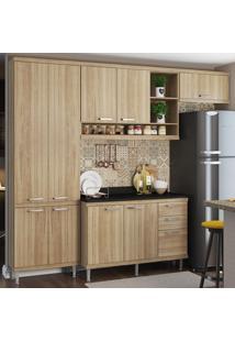 Cozinha Compacta 9 Portas 3 Gavetas Sicília Com Tampo 5841 Argila - Multimóveis