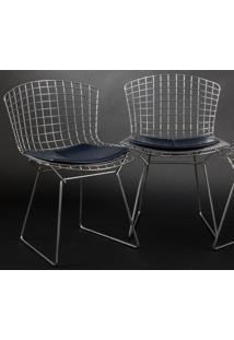 Cadeira Bertoia Cromada Couro Branco C
