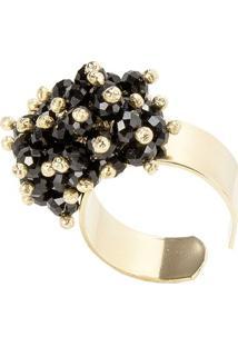 Anel Banho De Ouro Microesferas Quartzo Negro - Feminino-Preto