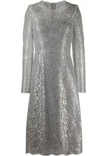 Dolce & Gabbana Vestido Midi Com Renda - Prateado