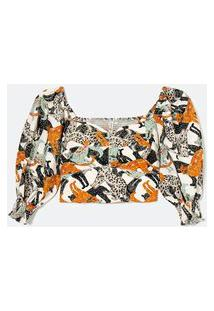 Blusa Cropped Floral Com Mangas Bufantes | Blue Steel | Branco | Gg