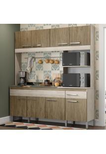 Cozinha Compacta 8 Portas 1 Gaveta Ct801 Malbec/Wood - Decibal Móveis