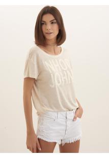 Camiseta John John Linen Malha Bege Feminina (Bege Claro, Pp)