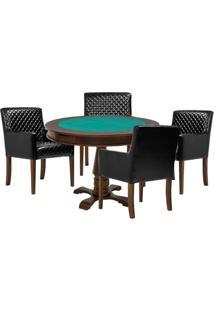 Mesa De Jogos Carteado Victoria Redonda Tampo Reversível Imbuia Com 4 Cadeiras Liverpool Corino Preto Matelassê - Gran Belo
