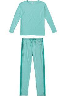 Pijama Verde Em Malha Mescla