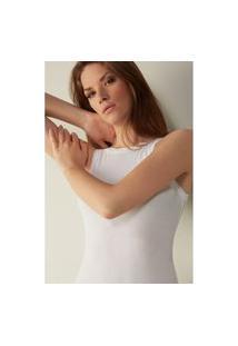 Blusa Em Tecido Canelado De Modal Ultralight Com Seda - Branco M Intimissimi