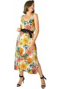 Vestido Midi Feminino Modisch Floral Rustic Leve Casual - Feminino