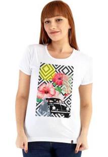 Baby Look Ouroboros Beatle Flowers Feminino - Feminino-Branco