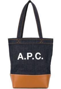 A.P.C. Bolsa Tote De Couro Com Estampa De Logo - Azul
