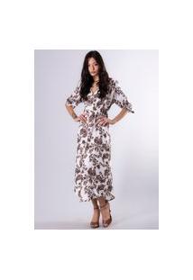Vestido Fisalis Arabescos Branco/Marrom