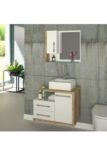 Gabinete Para Banheiro 1 Porta 2 Gavetas Com Cuba E Espelheira Legno 650W Siena Móveis Branco C/Carvalho