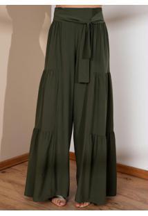 Calça Pantalona Verde Cintura Alta Com Franzidos