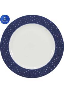 Conjunto Pratos Sobremesa Maitê 6 Peças - Schmidt - Branco / Azul