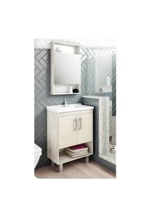 Gabinete Compacto Para Banheiro Com Nicho Nude E Calcare