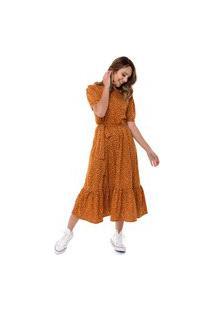 Vestido Aura Faixa Babado Caramelo