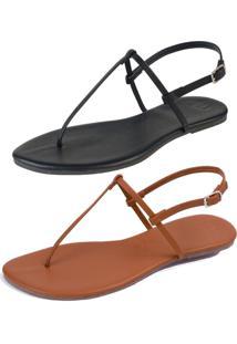 Kit 2 Pares Sandália Flat Simples Mercedita Shoes Napa Preto E Caramelo