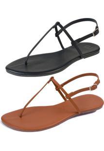 Kit 2 Pares Sandália Rasteira Simples Mercedita Shoes Napa Preto E Caramelo