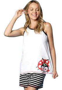 Pijama Curto Regata Nadador Joaninha Listras Adulto Puket Branco