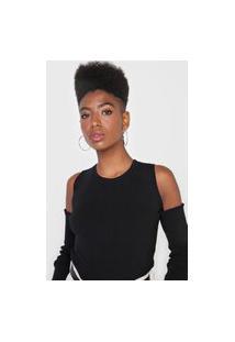 Blusa Tricot Calvin Klein Jeans Off Shoulders Preta
