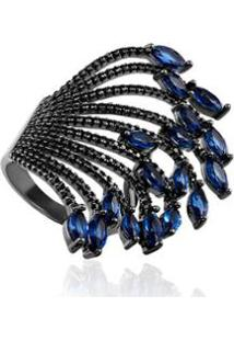 Anel Giullia Ferraz Folha Safira Black - Feminino-Azul Escuro