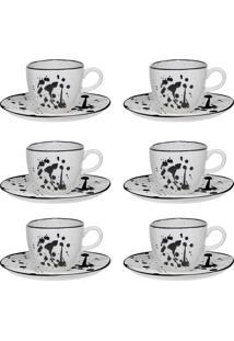 Conjunto 6 Xícaras De Chá Oxford 220Ml Com Pires Porcelana Art Ryo