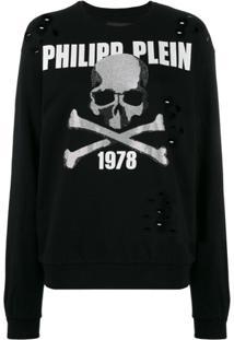 Philipp Plein Suéter Skull Com Aplicações - Preto