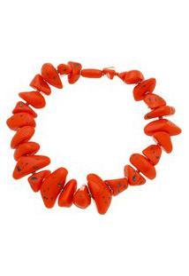 Maxi Colar Com Pedras De Resina Vermelhas.
