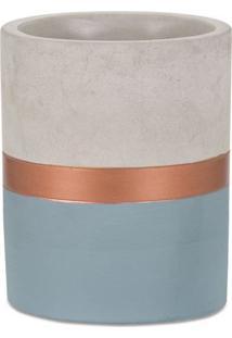 Vaso Tricolor- Cinza & Azul- 11Xø9Cm- Martmart