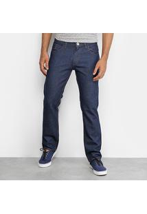 Calça Jeans Reta Rock Tradicional Masculina - Masculino-Azul Escuro