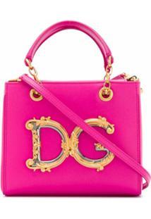 Dolce & Gabbana Bolsa Tote Com Placa Dg - Rosa