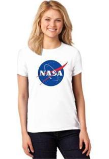 Camiseta Nasa Baby Look Feminina - Feminino-Branco