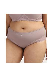 Calcinha Feminina Dilady Plus Size Cintura Alta Em Microfibra Com Renda Bege