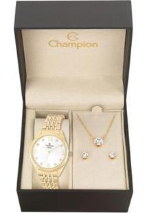 Kit Relógio Champion Elegance Feminino Cn26251W Com Colar E Brincos - Feminino-Dourado