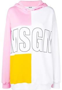 Msgm Blusa De Moletom Color Block Com Logo - Branco
