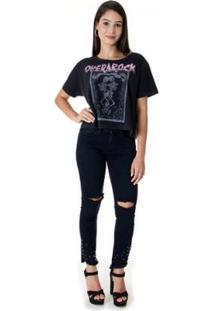 Blusa Top Opera Rock Cropped Skull Feminino - Feminino-Preto