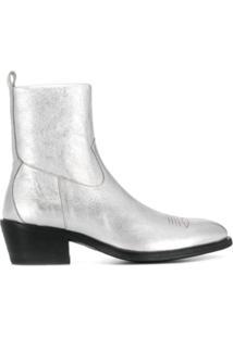 Jimmy Choo Ankle Boot Metalizada Jesse - Prateado