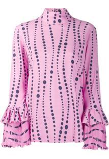 La Doublej Blusa Estampada Com Detalhe No Punho - Rosa