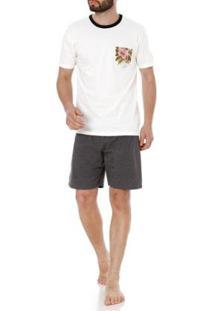 Pijama Curto Mundo Do Sono Masculino - Masculino-Off White