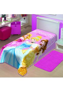 Cobertor Infantil Disney Princesas Poliéster Microfibra Jolitex 1,50Mx2,00M Rosa