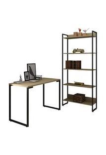 Conjunto Escritório Mesa Escrivaninha 120Cm E Estante 5 Prateleiras Estilo Industrial New Port F02 Nature - Mpozenato
