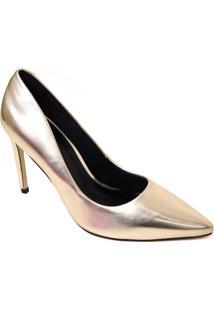 Sapato Scarpin Zariff Metalizado Salto Alto Bico Fino