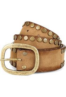 Cinto Couro Shoestock Básico Tachas Feminino - Feminino