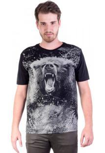 Camiseta Preta Urso Estourado
