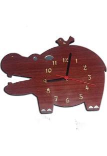 Relógio De Parede Hipopótamo Em Madeira Mdf Laminado Com Detalhes Em Espelhos Decoramix