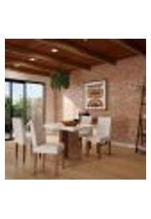 Conjunto De Mesa De Jantar Atlanta I Com Tampo De Vidro Off White E 4 Cadeiras Grécia Veludo Creme